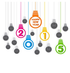 creative happy new year 2015 bulb greeting design vector image