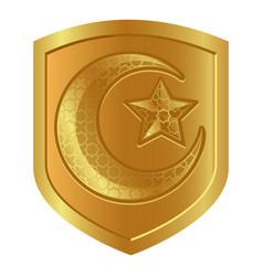 crescent moon star logo symbol in golden shield vector image