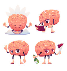 cute brain character in different poses vector image