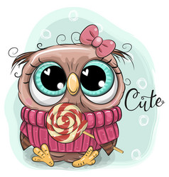 Cute cartoon owl with lollipop vector