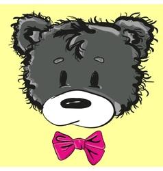Cute cartoon teddy bear with a bow vector image