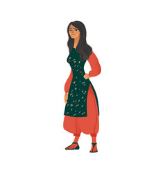 Cute girl in gypsy costume cartoon icon vector