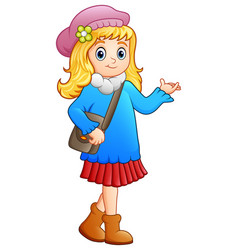 Cute school girl cartoon vector