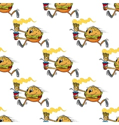 Cute seamless pattern of a running hamburger vector