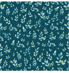 Cute seamless pattern with cyan leaves vector image