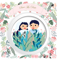 Cute wedding cartoon card vector