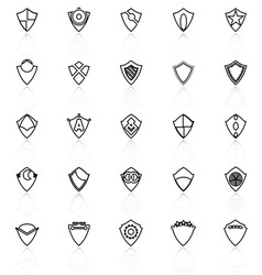 Design shield line icons with reflect on white vector image