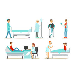 doctors and nurses examining and treating patients vector image