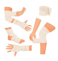 Elastic bandage on injured human body parts set vector
