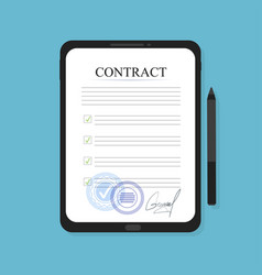 electronic contract on the tablet in flat style vector image