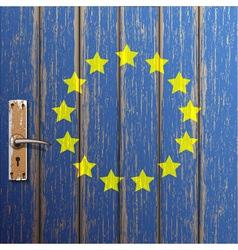 Euro flag painted on old wooden door vector