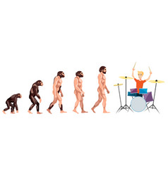 Evolution drummer on white background vector