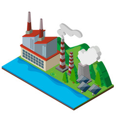 factory building with solar cells vector image