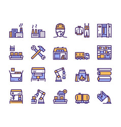 Factory color line icon set labor and engineering vector