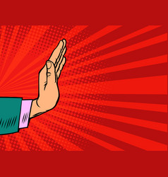 female hand holding a stop gesture vector image
