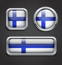 Finland flag glass buttons vector image
