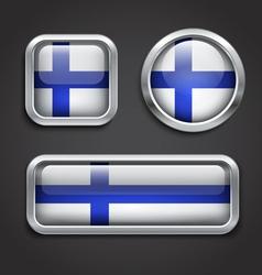 Finland flag glass buttons vector