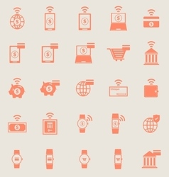 Fintech color icons on grey background vector