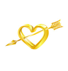 Golden heart pierced by cupids arrow vector