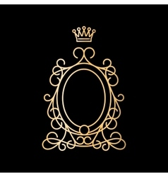 Golden vintage oval frame with crown vector