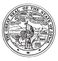 great seal state iowa vintage vector image