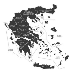 Greece map labelled black vector
