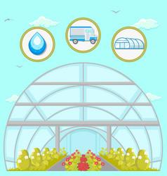 Greenhouse plantation flat vector