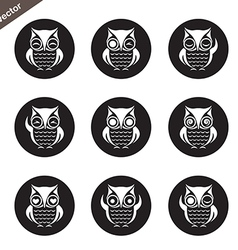group of owl in the circle vector image