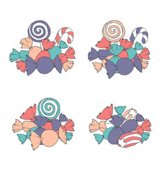 Hand drawn set of marshmallows and candies vector