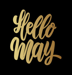hello may lettering motivation phrase for poster vector image