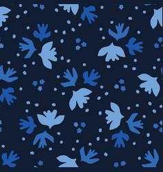 Indigo blue graphicpaper cut birds seamless vector