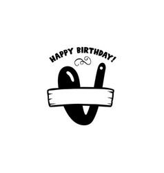 initial birthday v letter happy birthday monogram vector image
