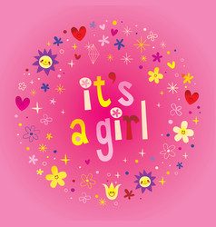 its a girl card vector image