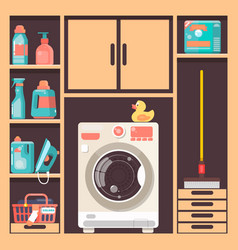 laundry room with washing machine basket and vector image