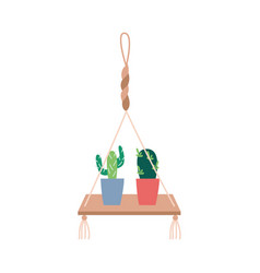 Macrame plant hangers with cactus hobconcept vector