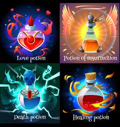 Magic potions 2x2 design concept vector