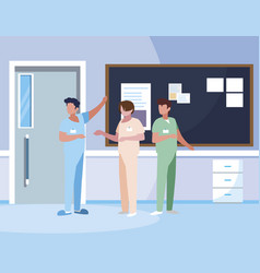 Male medicine workers with uniforms in hospital vector