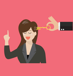 man holding a key unlocking business woman mind vector image