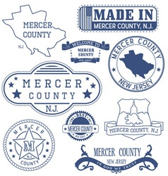 Mercer county New Jersey stamps and seals vector