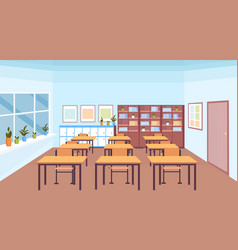 modern school classroom interior book shelf desks vector image