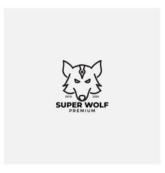 Mythology wolf face line logo design vector