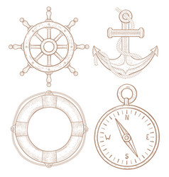 Nautical symbols - steering wheel anchor vector