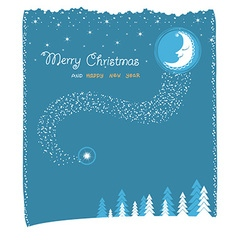 nice moon and stars christmas card vector image