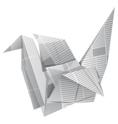 origami bird on white background vector image vector image