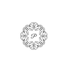 p letter logo monogram design elements line art vector image