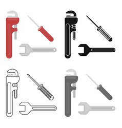 Plumbing tooles icon in cartoon style isolated on vector