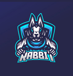 rabbit esport gaming mascot logo template for vector image