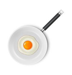 realistic 3d fried egg on a white enamel vector image