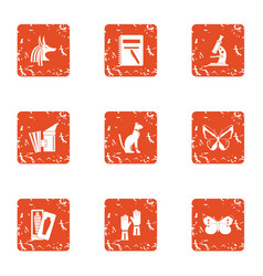 record history icons set grunge style vector image