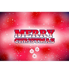 Red Merry Christmas card with snow and baubles vector image